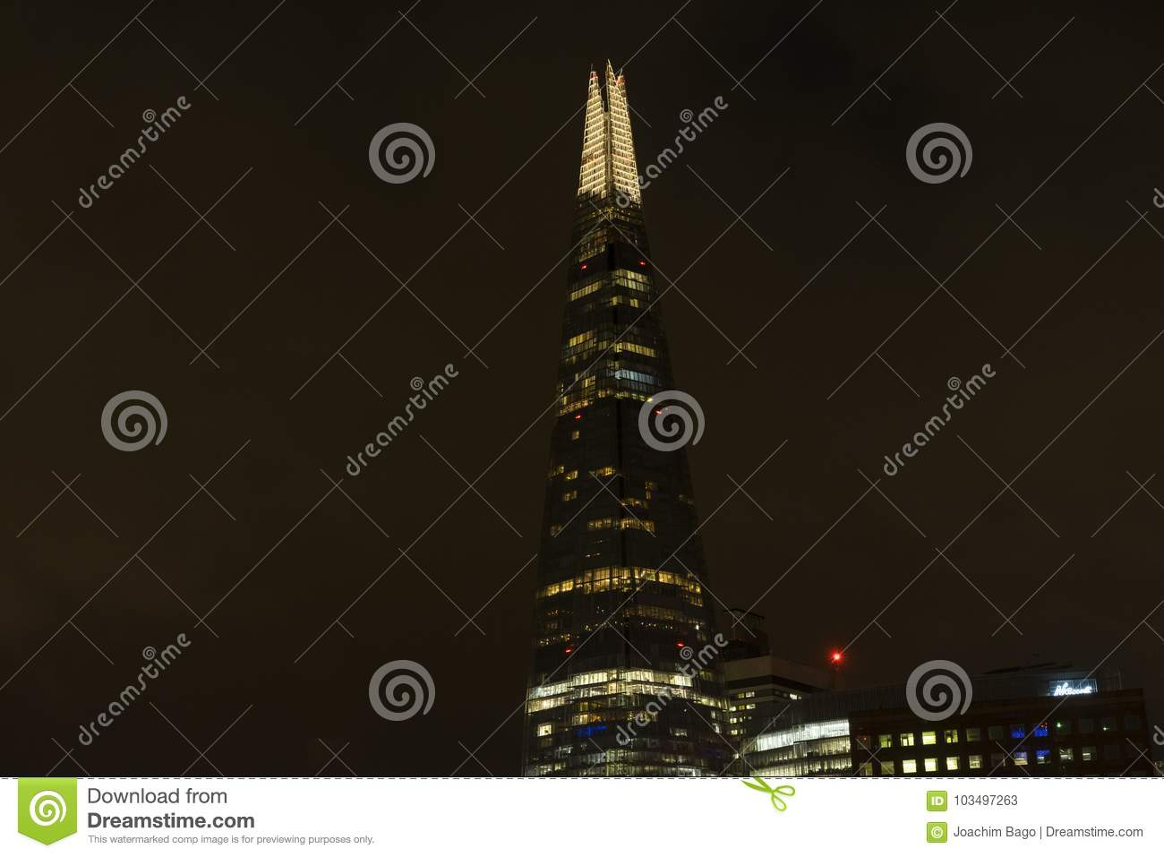 Download Top Of Skyscraper Shard In London At Night Editorial Stock Photo