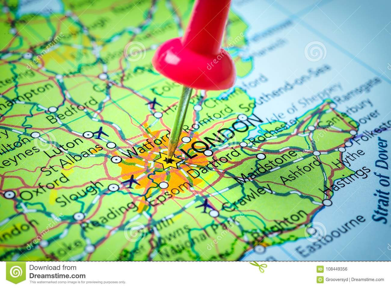 London In United Kingdom Pinned On A Map Stock Photo Image Of