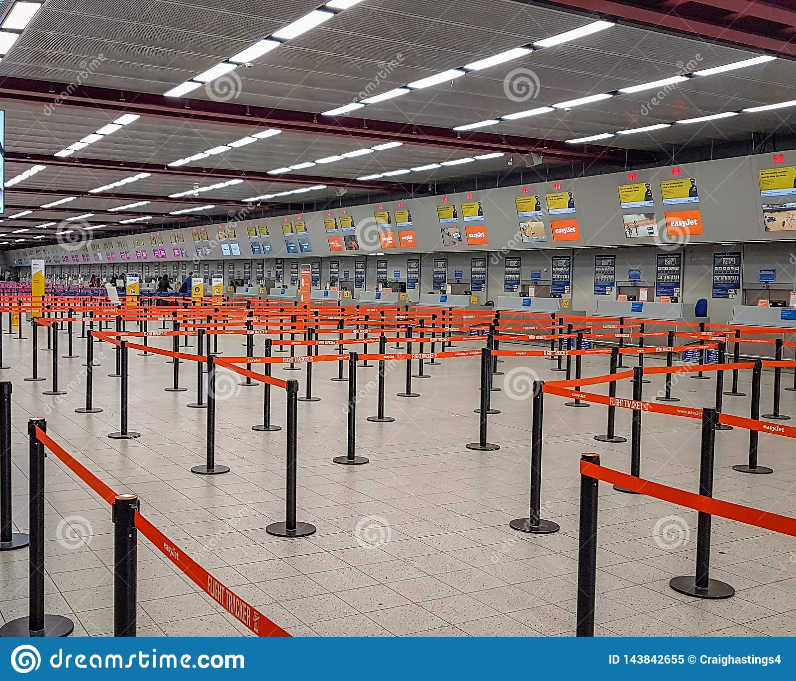 Luton Airport Easyjet Check In Desks  Empty With No Passengers
