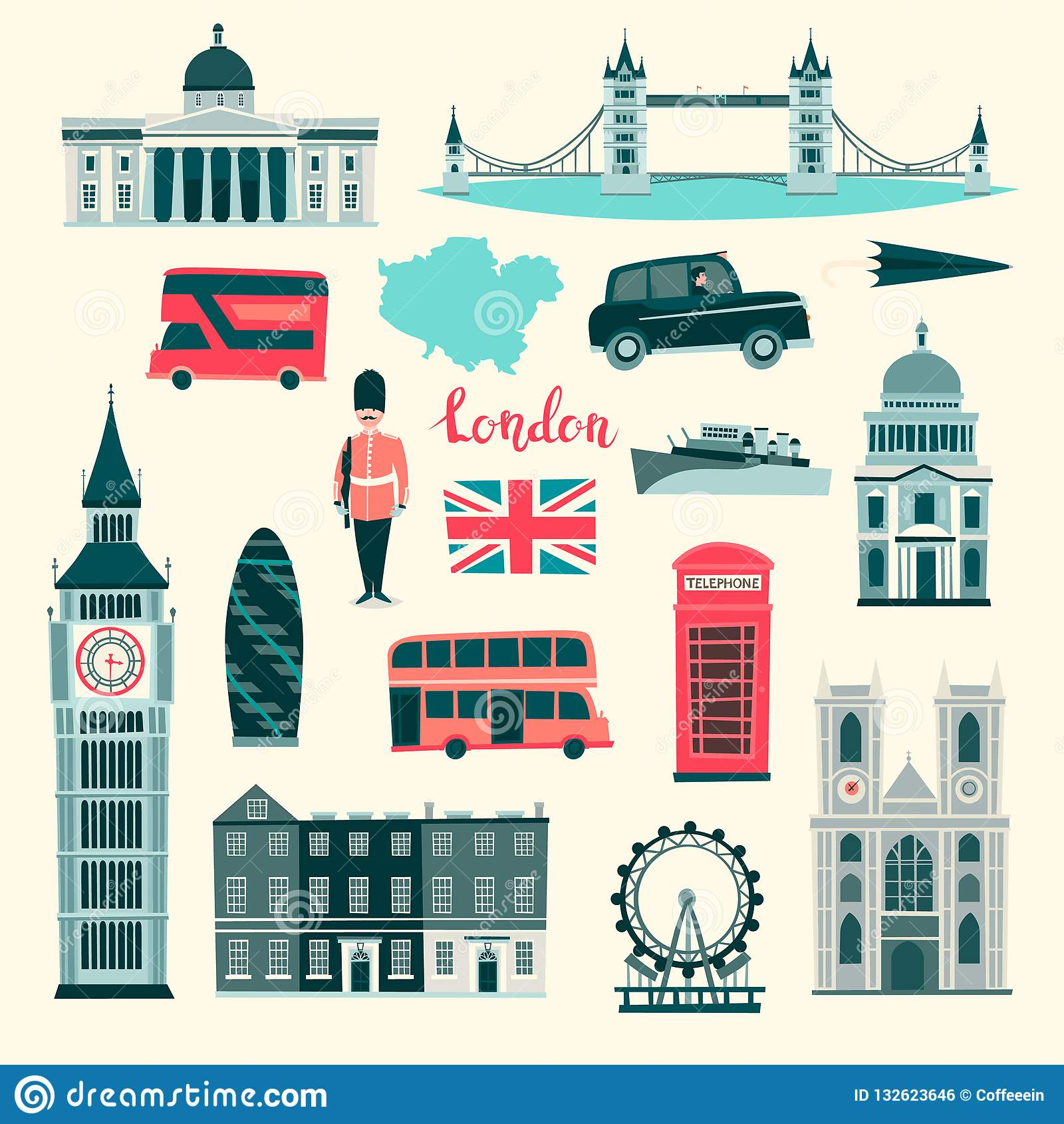 London Vector Illustration Set Cartoon United Kingdom Icons London