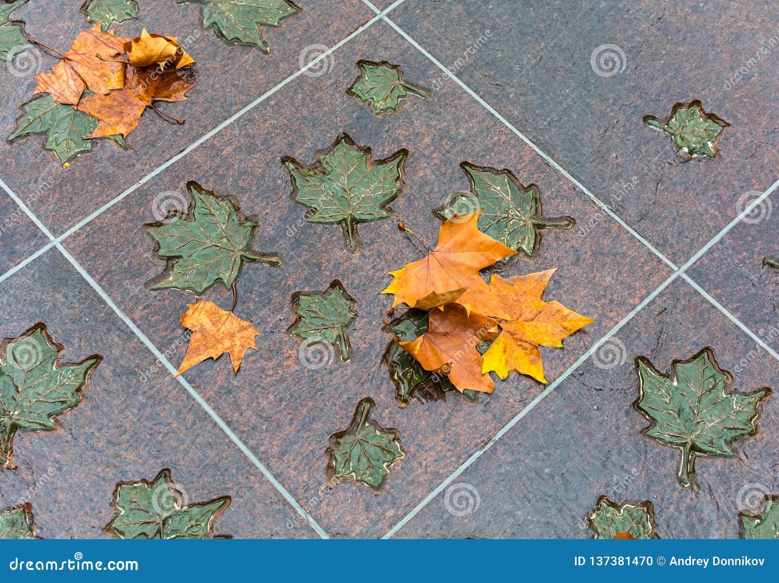 LONDON, VEREINIGTES KÖNIGREICH - 25. NOVEMBER 2018: Bronze- und natürliche Ahornblätter im Kanada-Denkmal in Green Park