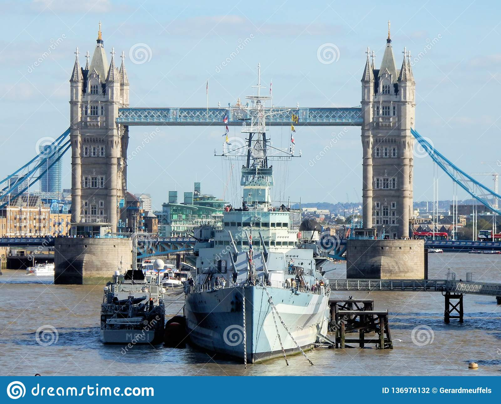 London, View from London Bridge on HMS Belfast and Tower Bridge