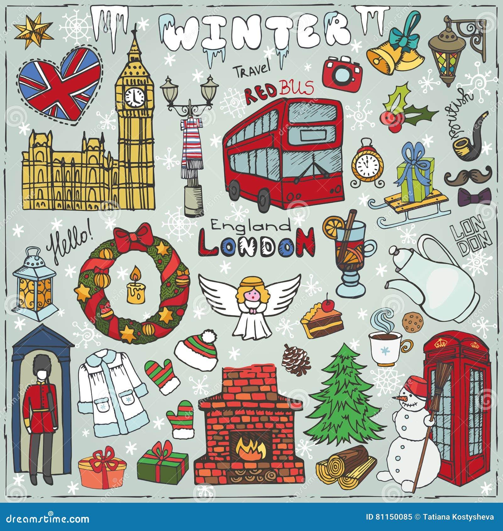 London winter landmarks setlored christmas doodles stock vector colored christmas doodles biocorpaavc