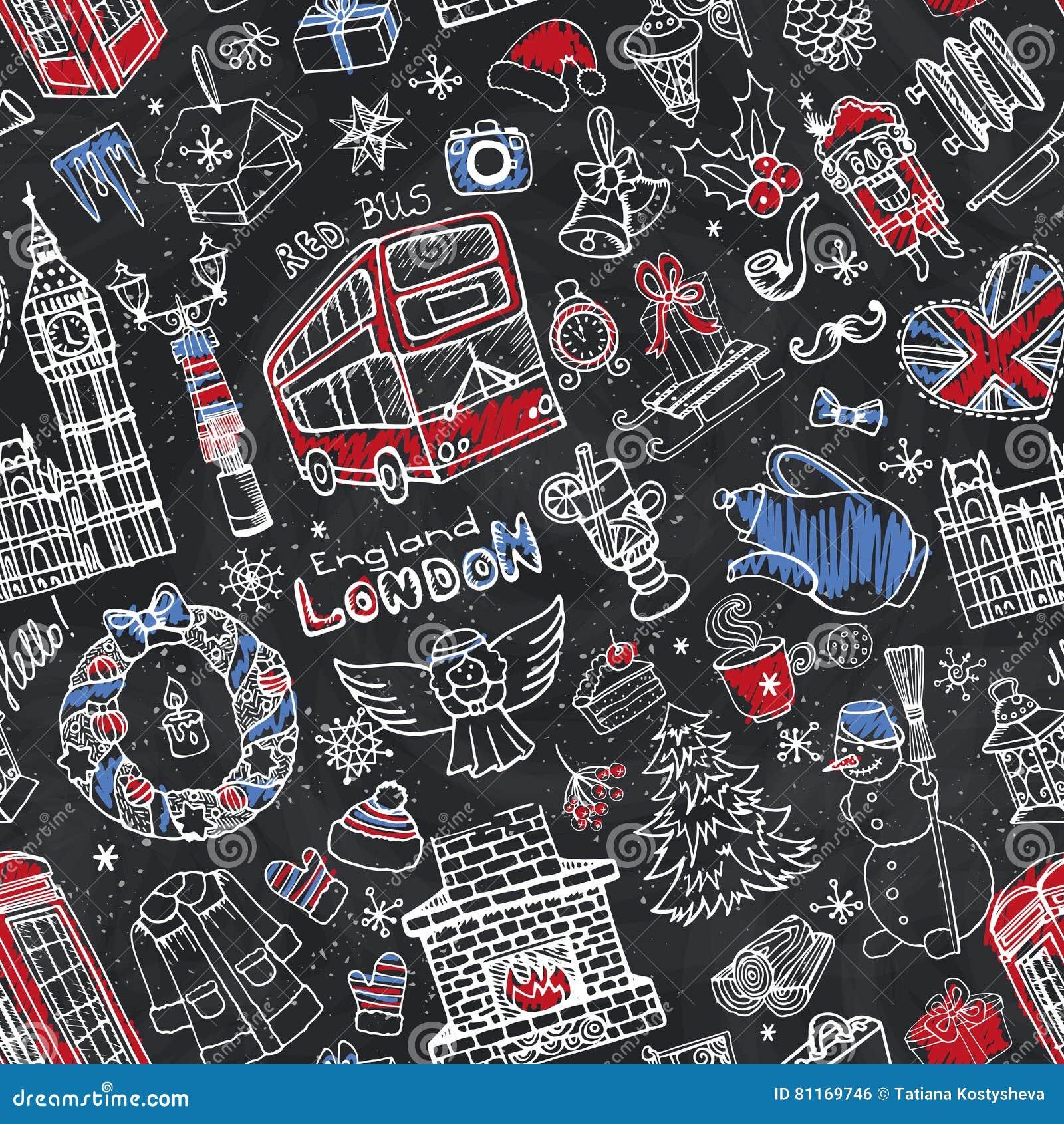 London winter seamless patternristmas doodlesalk stock london winter seamless patternristmas doodlesalk biocorpaavc