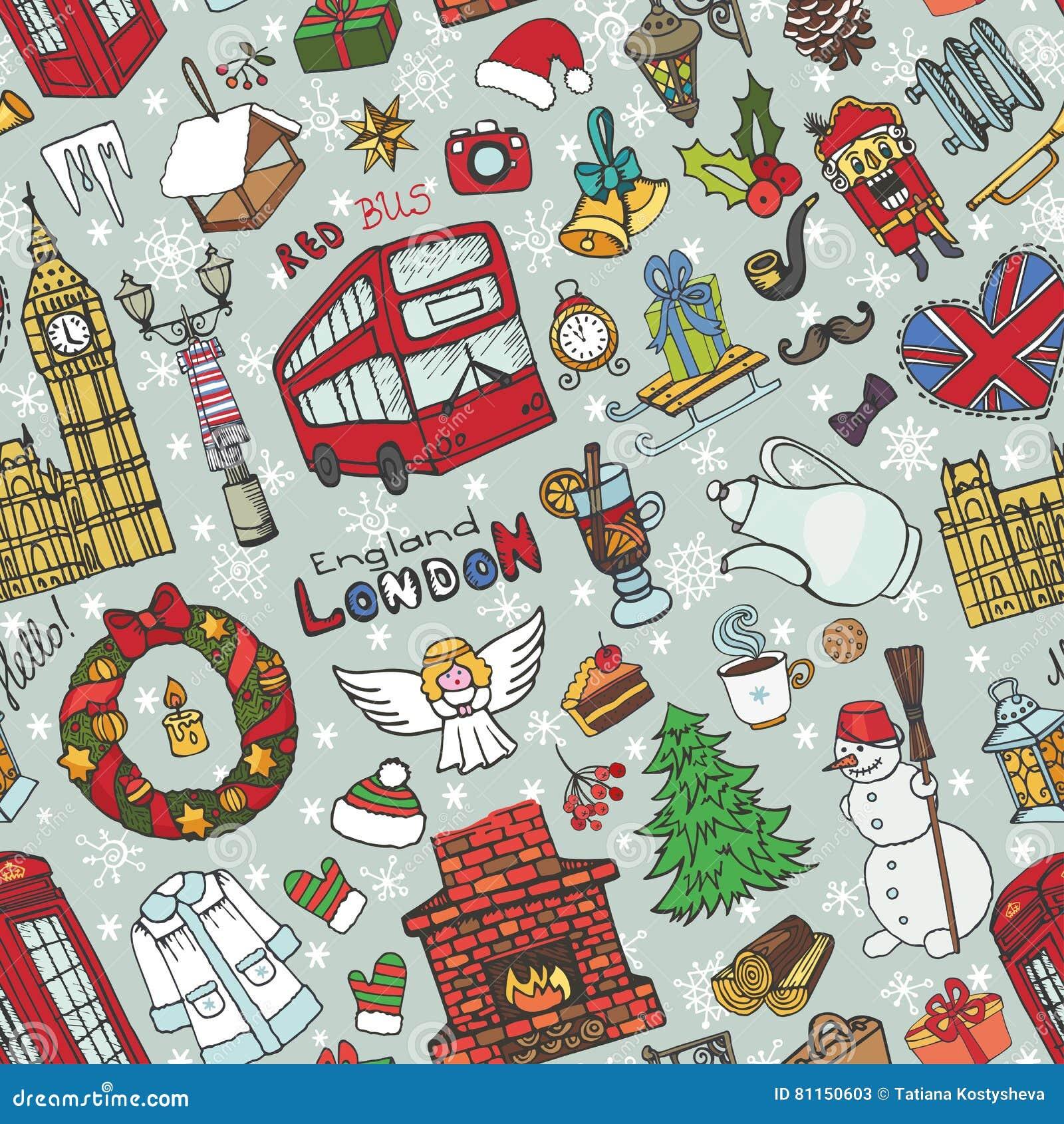 london winter seamless pattern christmas doodles stock vector