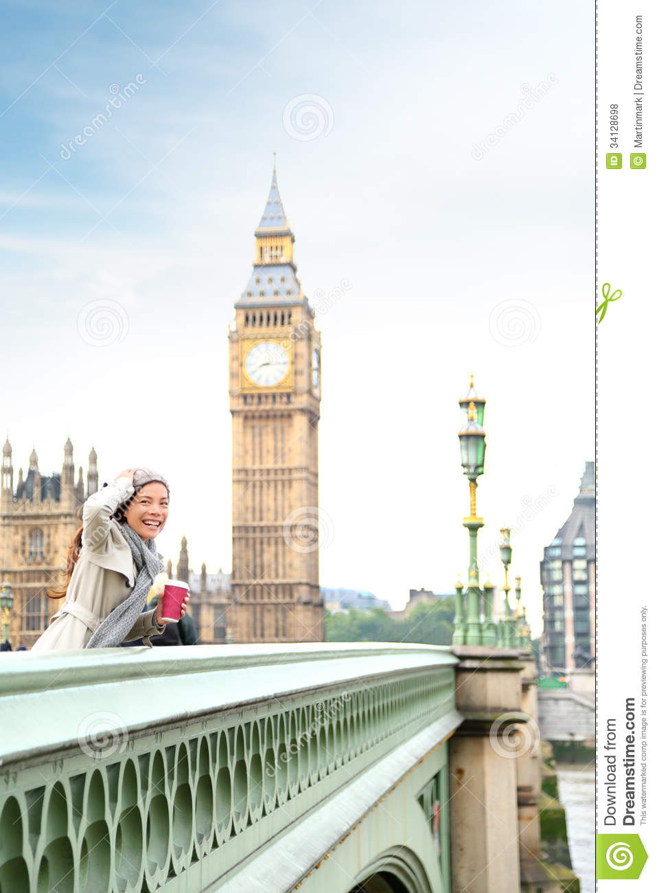 london woman happy by big ben royalty free stock photos