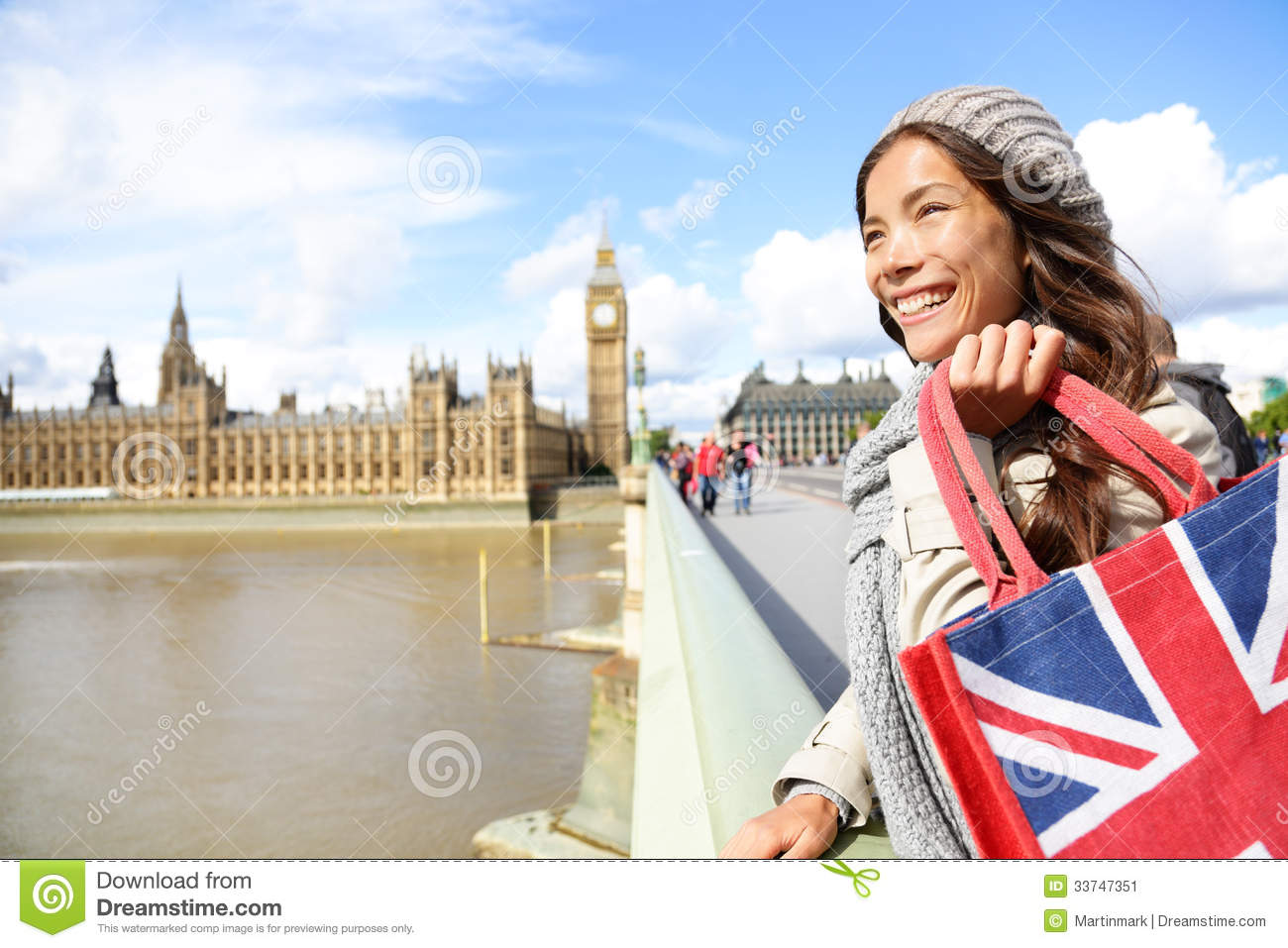 ... vacation in London. Multicultural Asian Caucasian female traveler on