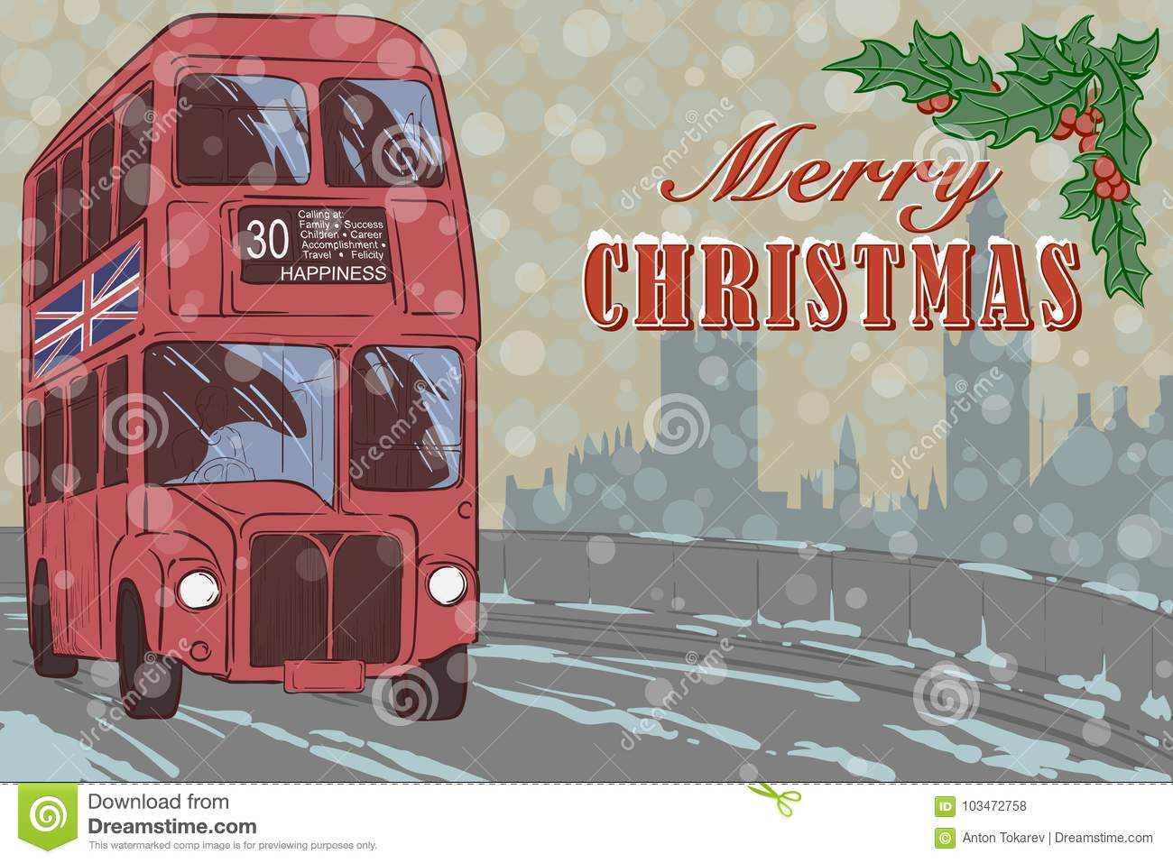 London Xmas card with a red bus