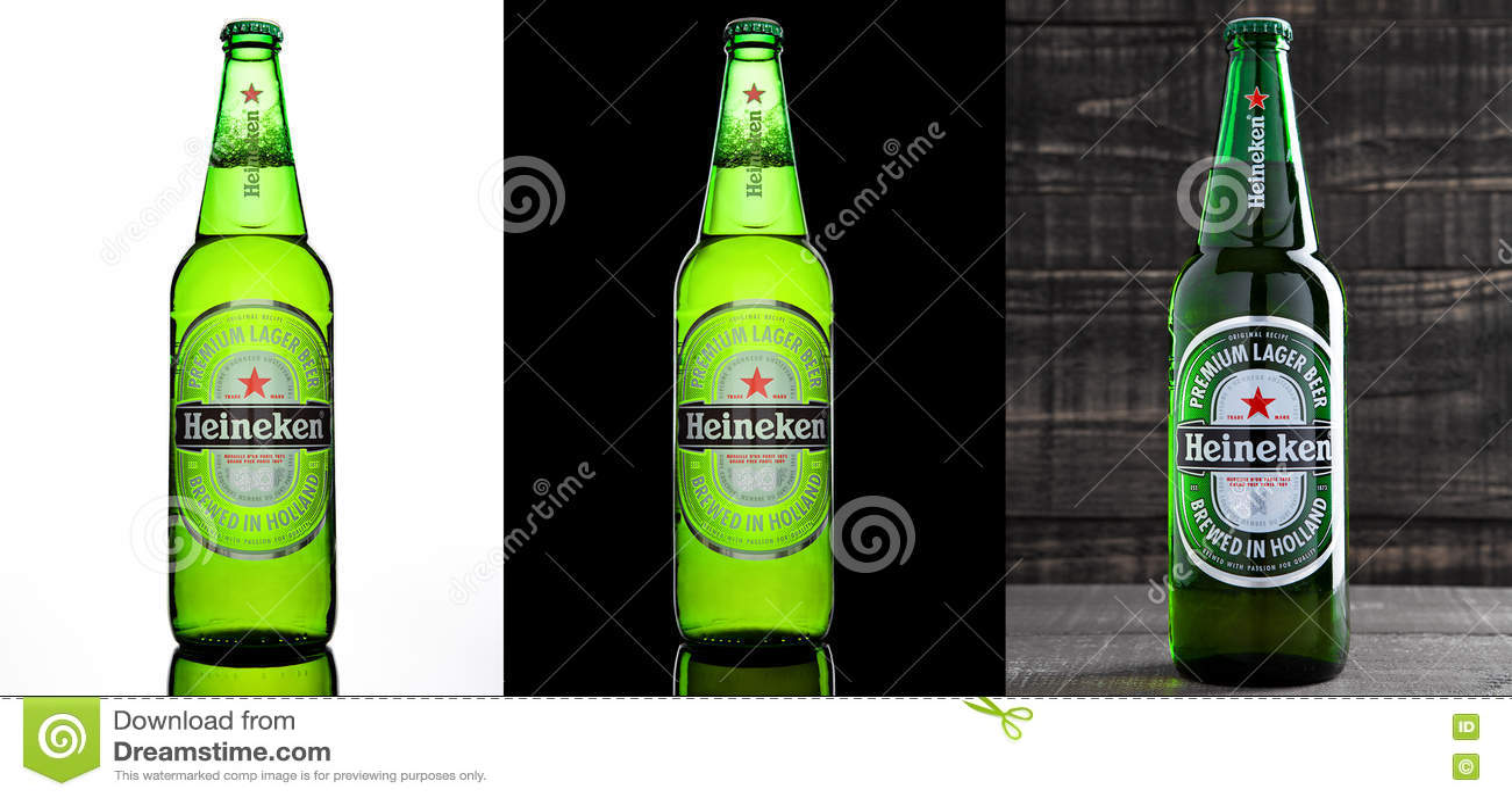 LONDRA, REGNO UNITO - 17 OTTOBRE 2016: Bottiglia di Heineken Lager Beer su tre ambiti di provenienza differenti Heineken è il pro