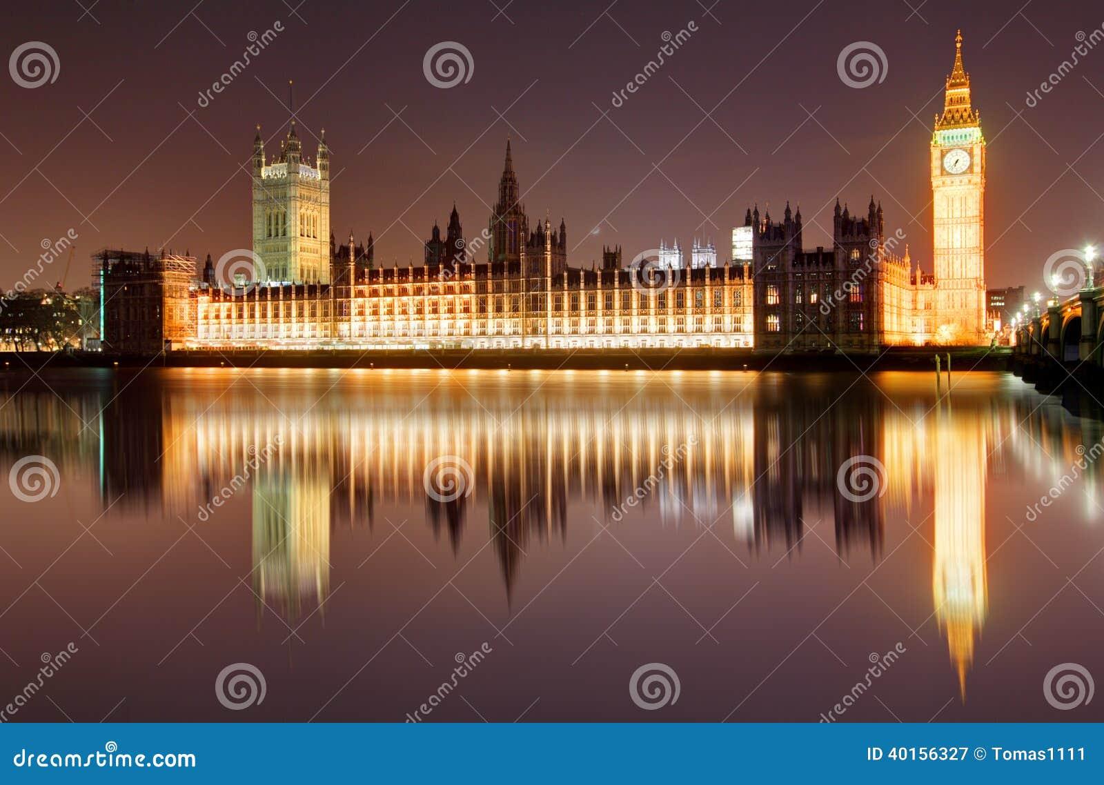 Londres en la noche - casas del parlamento, Big Ben