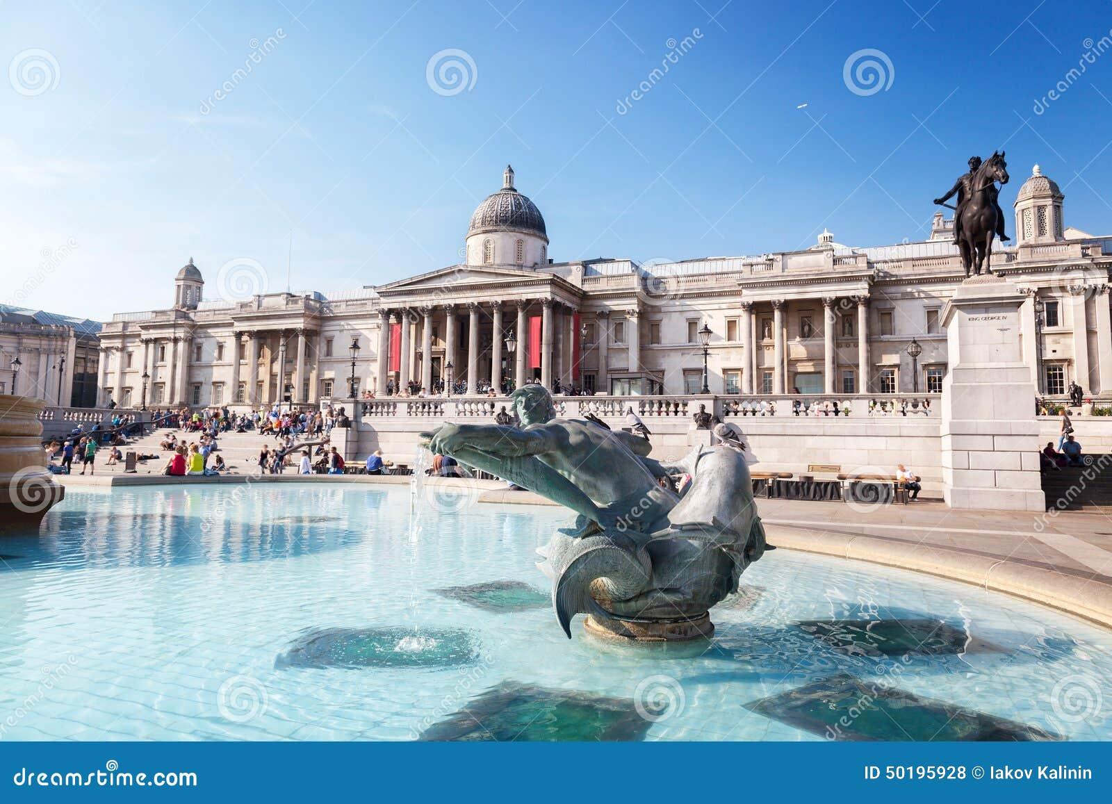 Londres, fuente en Trafalgar Square
