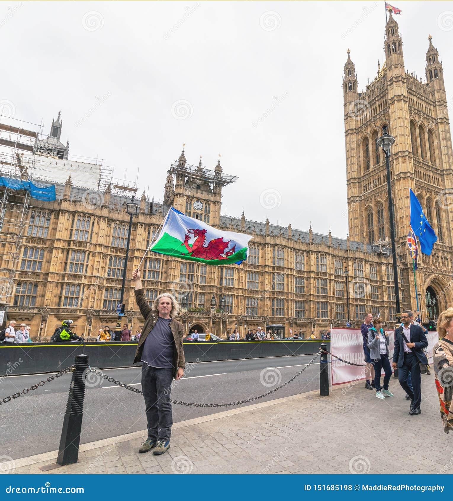 Londres/R-U - 26 juin 2019 - le protestataire Pro-UE porte des drapeaux du Pays de Galles et de l Union européenne en dehors du P