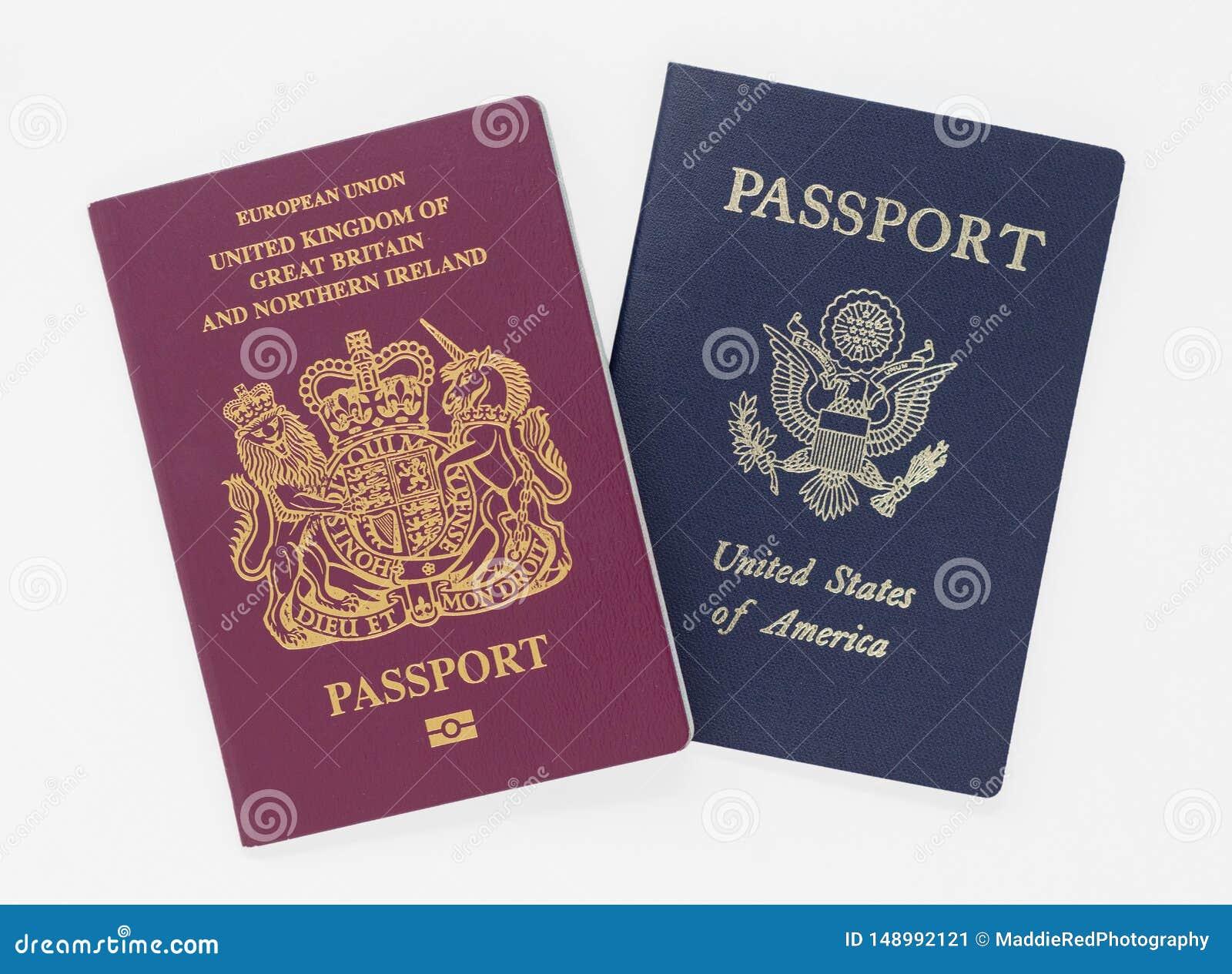 Londres, R-U - 28 mai 2019 britannique et passeports des USA, d isolement sur un fond blanc