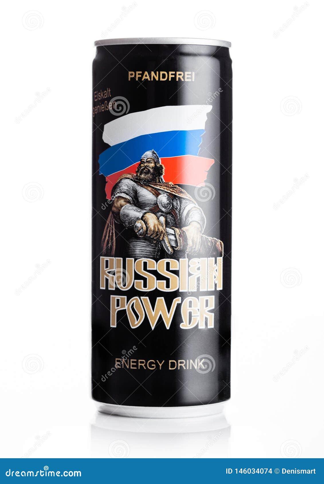LONDRES, REINO UNIDO - 27 DE ABRIL DE 2019: Lata de alumínio da bebida original da energia do poder do russo no fundo branco