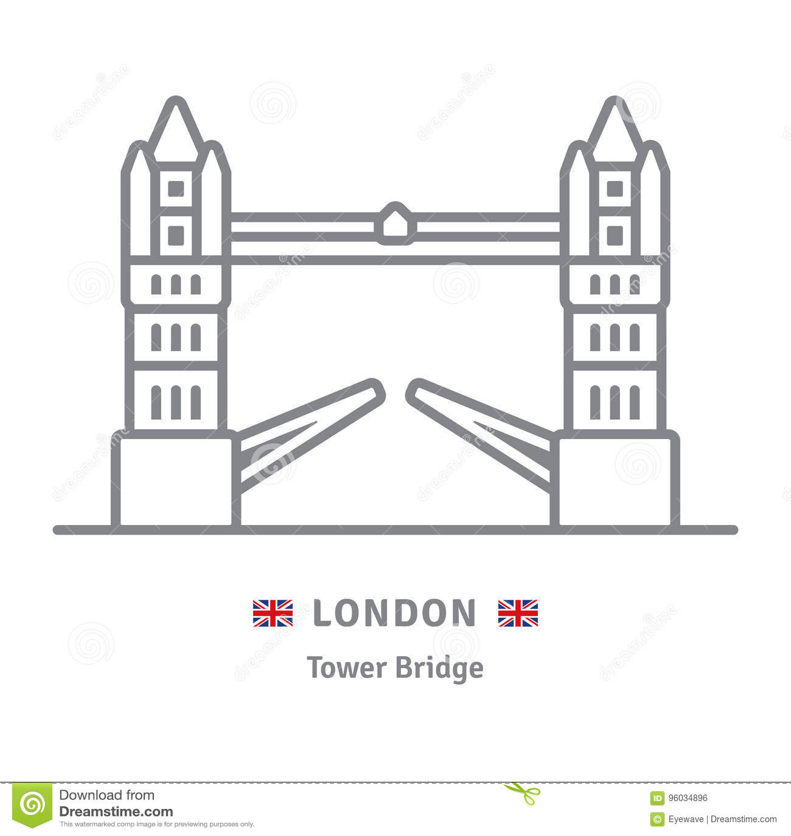 Londyńska ikona z wierza mostem i Brytyjski zaznaczamy
