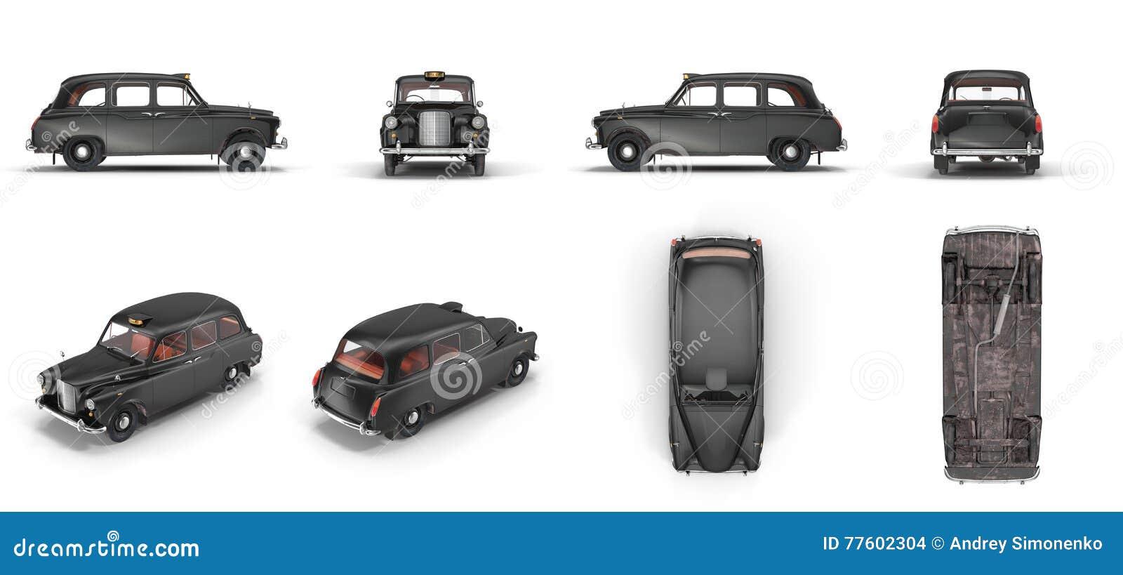Londyńska taksówka odizolowywająca na białej 3D ilustraci