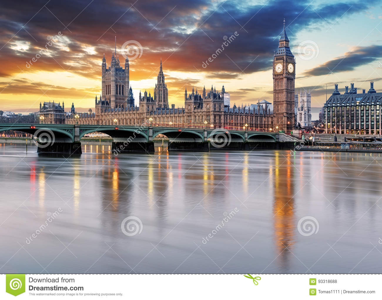 Londyn - big ben i domy parlament UK,