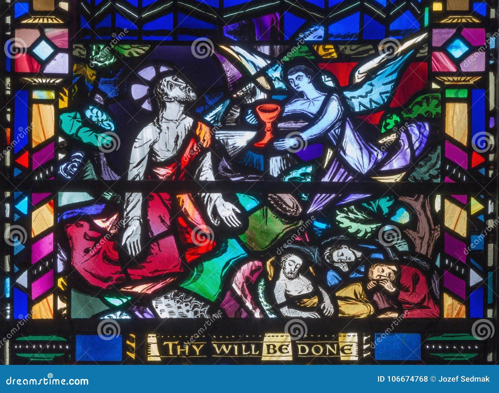 Londyn - Jezusowa modlitwa w Gethsemane gareden na witrażu w kościół St Etheldreda