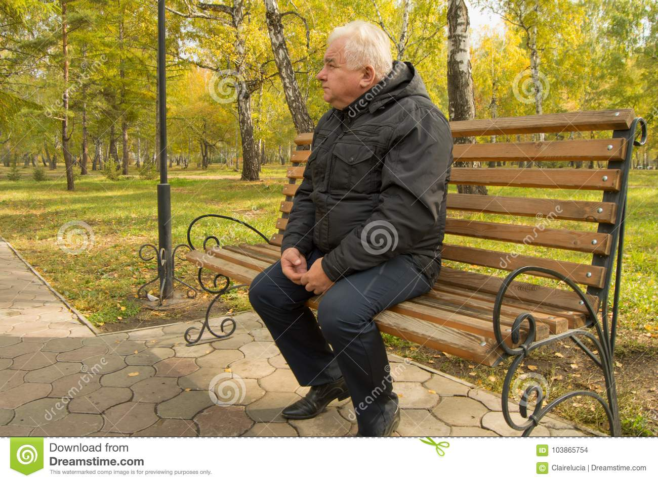 The Lone Gray Haired Old Man Resting On A Wooden Bench In A Park On