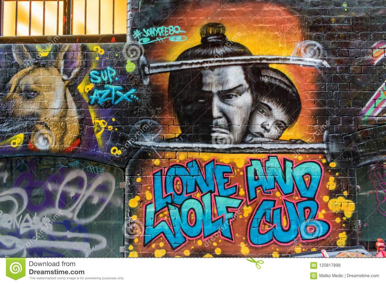 Lone Wolf And Cub Graffiti Editorial Stock Photo Image Of