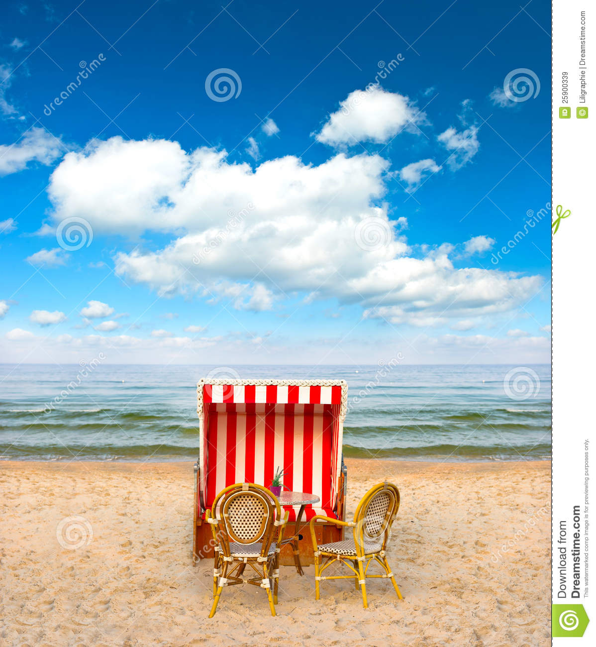 Lonely Beach Chair In Cafe On The Baltic Sea Stock Image