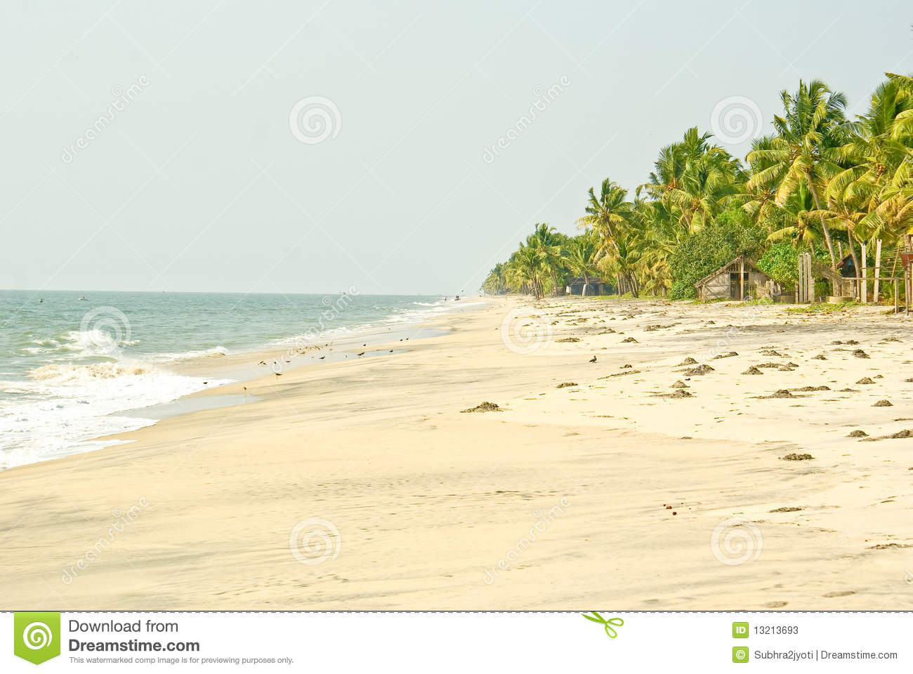 Lonely beach in South India