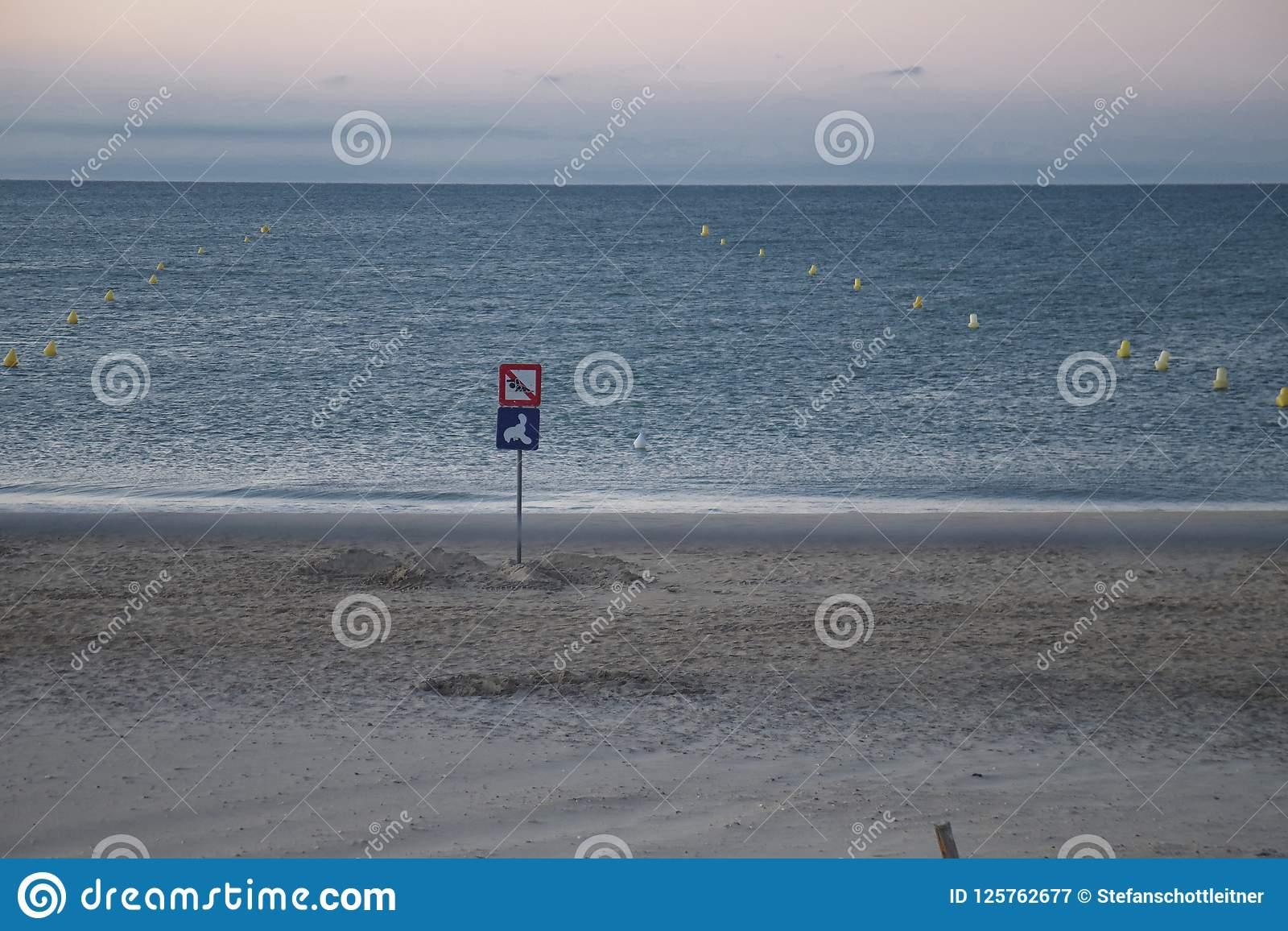 lonely beach before sunset in summer