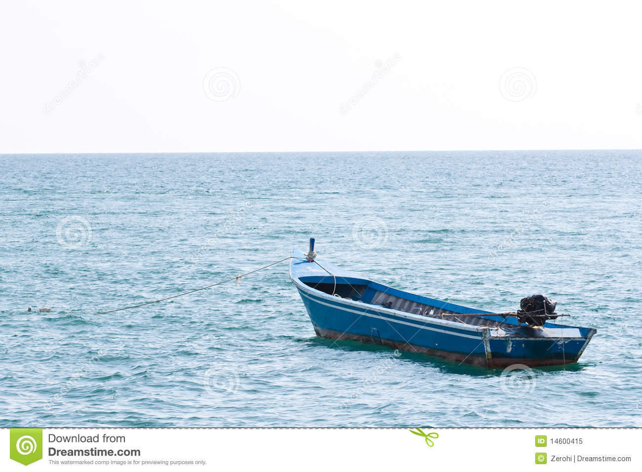 Lonely Boat In The Ocean Royalty Free Stock Photo - Image: 14600415