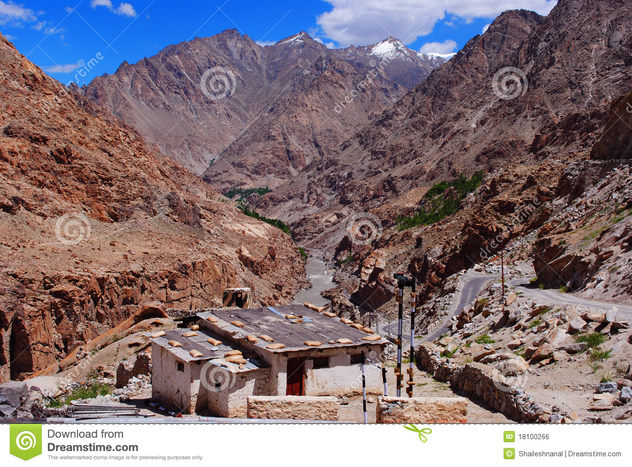 Lonely cottage in ladakh mountains royalty free stock for Cottage in the mountains