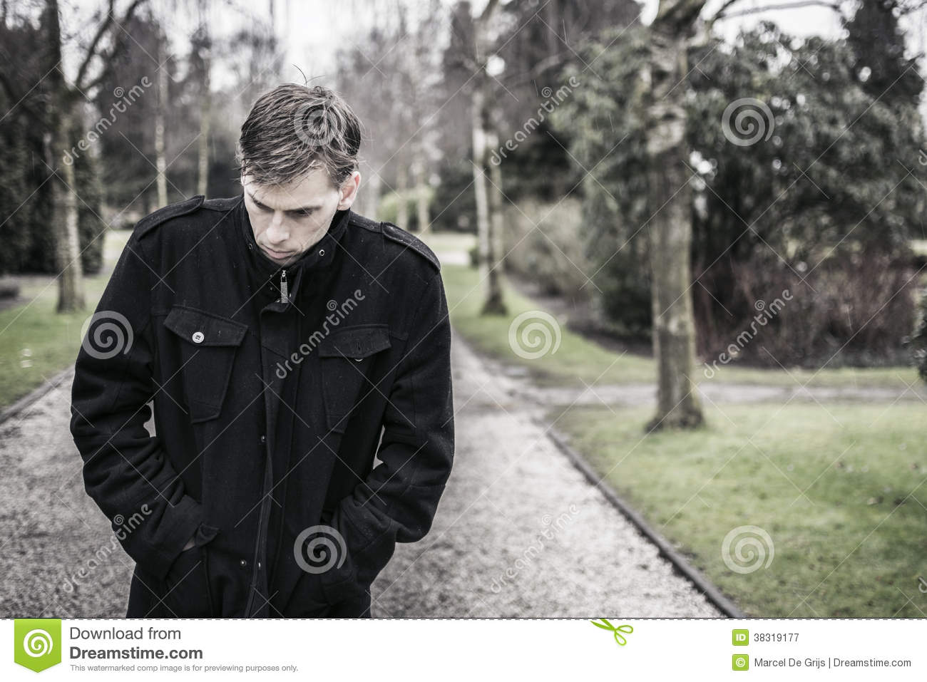 Lonely Depressed Man Outdoors Royalty Free Stock ...