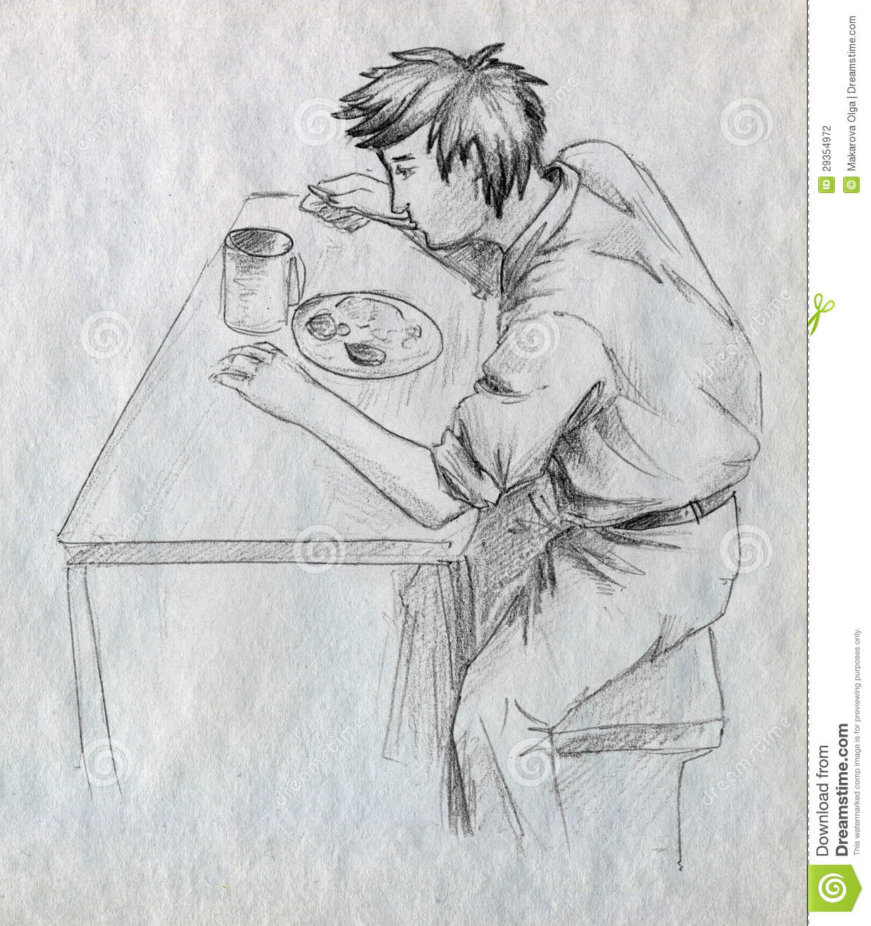 Pencil drawn sketch of a young man eating his meal all alone