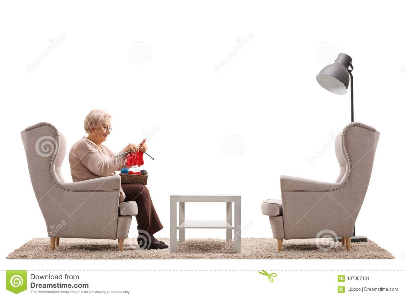 lonely elderly woman sitting armchair knitting isolated white background