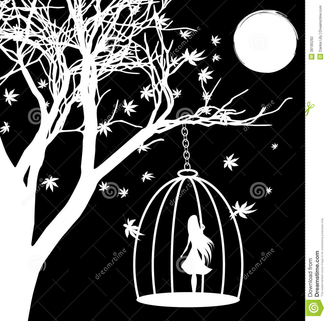 Lonely girl stock vector illustration of emotions night