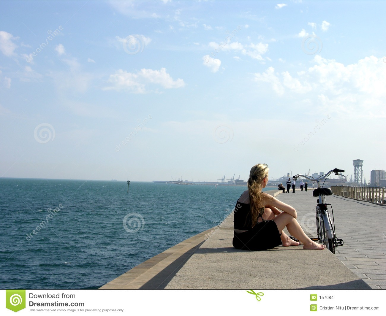 Lonely Girl On The Coastline