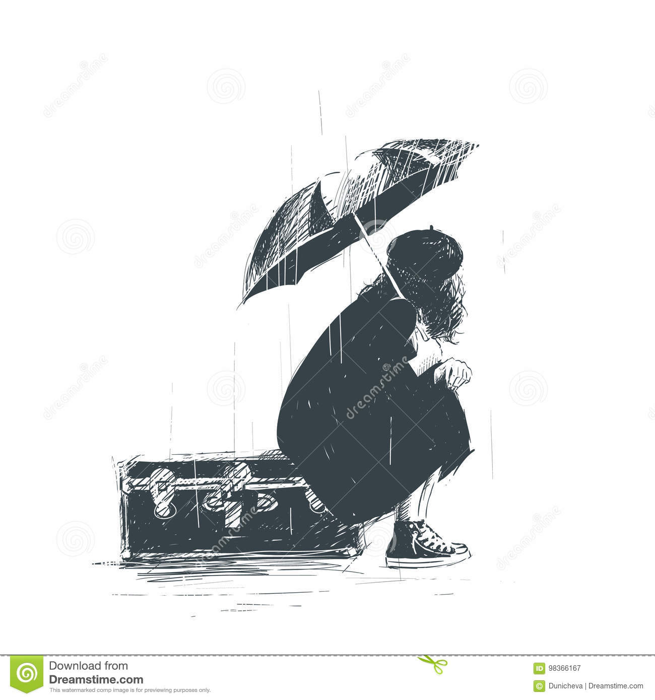Lonely girl is sitting on the luggage with an umbrella in her hands during the rain