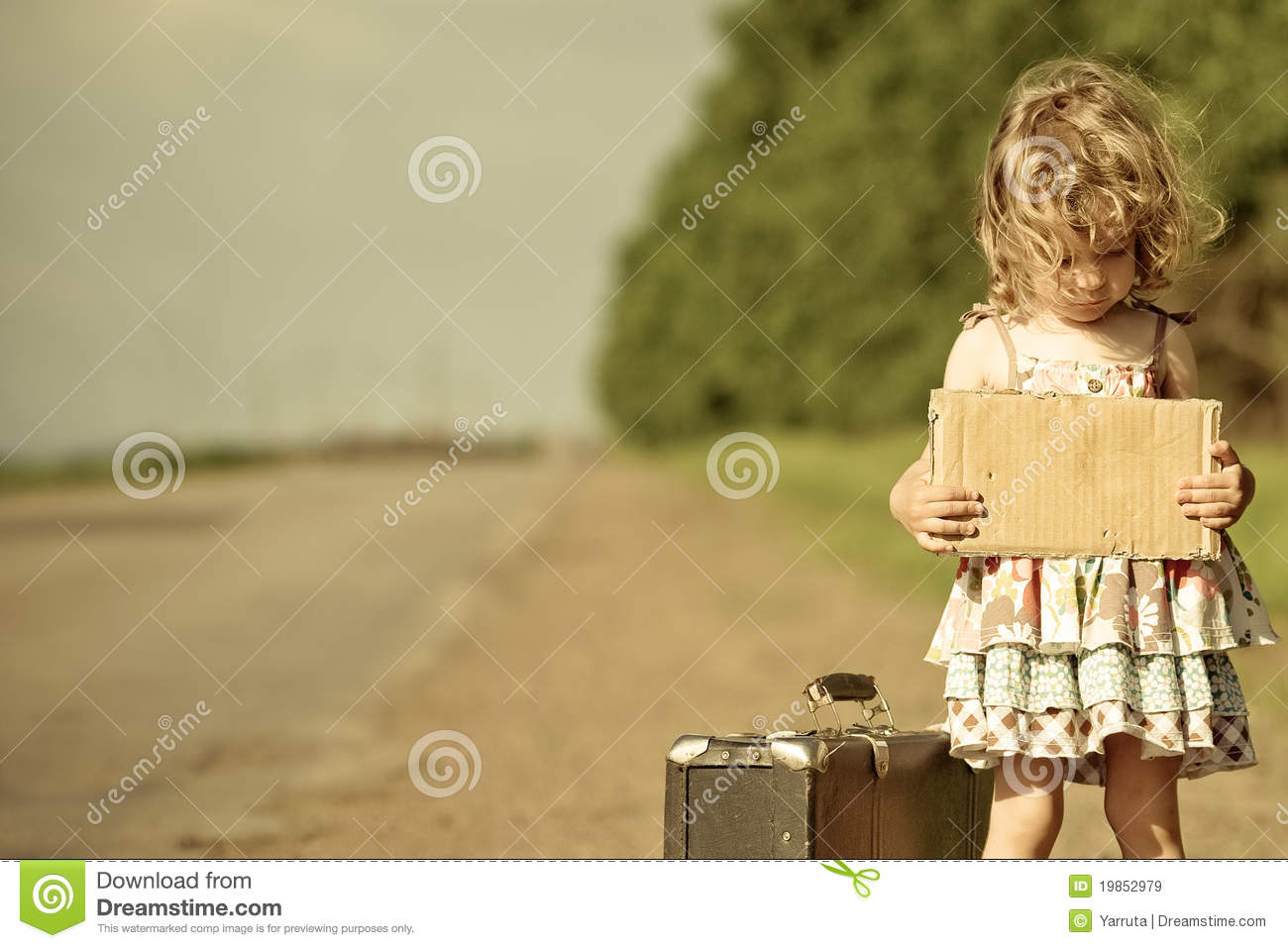 lonely girl with suitcase standing about road stock image