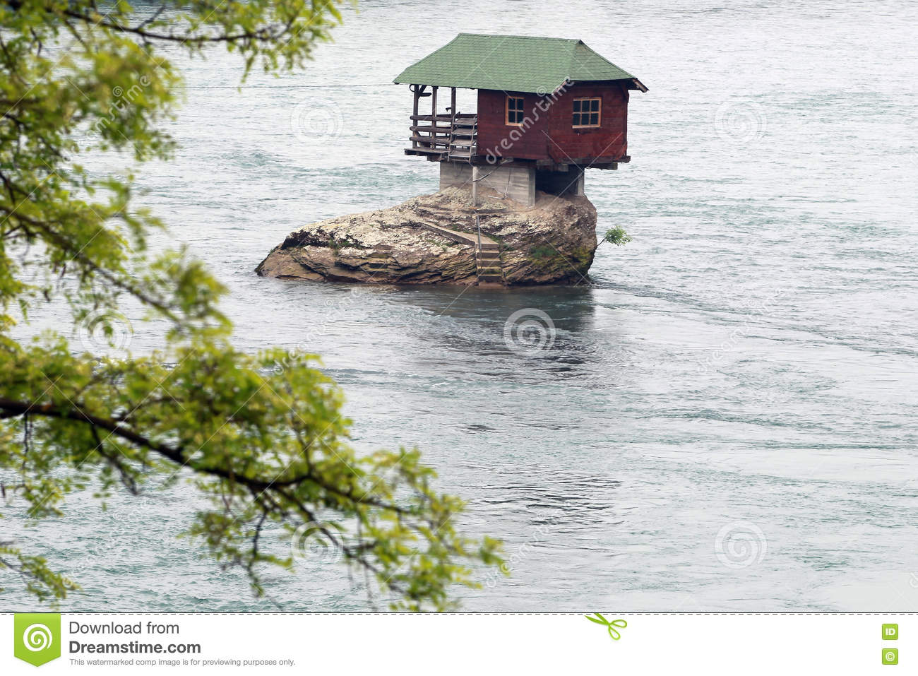 Lonely house on the river Drina