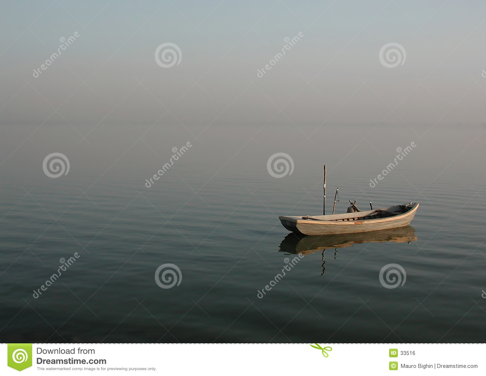 Lonely lagoon boat - calmness