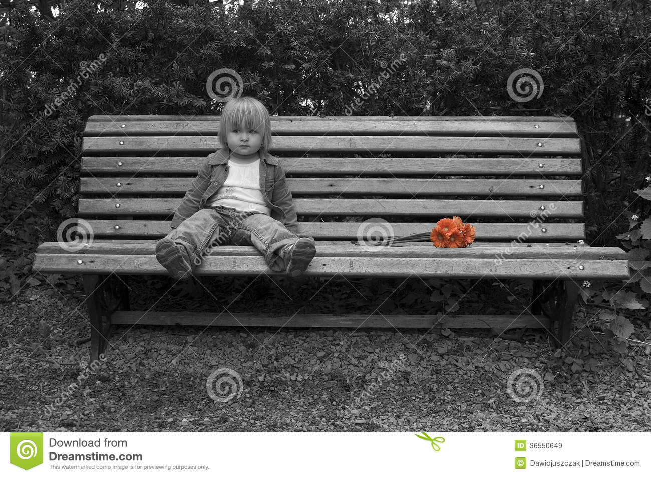 Lonely Little Girl With Flowers Sitting On The Bench Stock