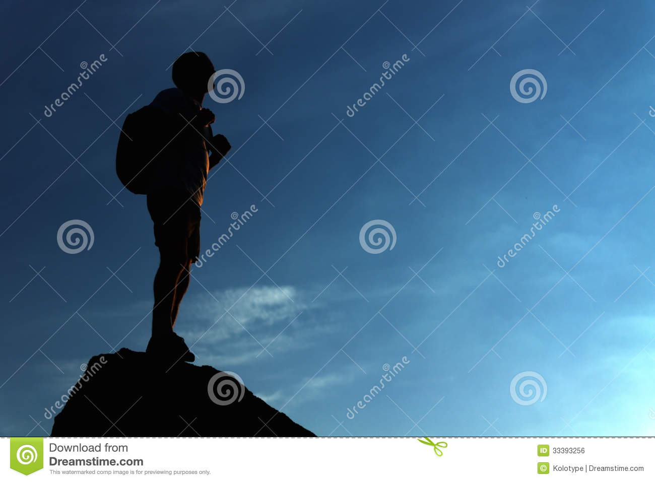 Lonely Male Hiker Standing On The Mountain Top Royalty Free Stock ...