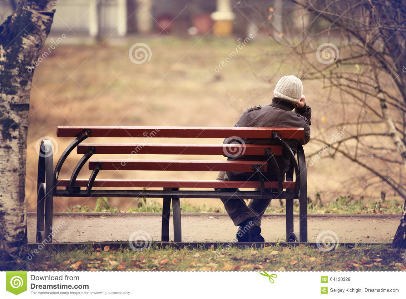 Lonely Man On The Bench Stock Photo - Image: 64130328