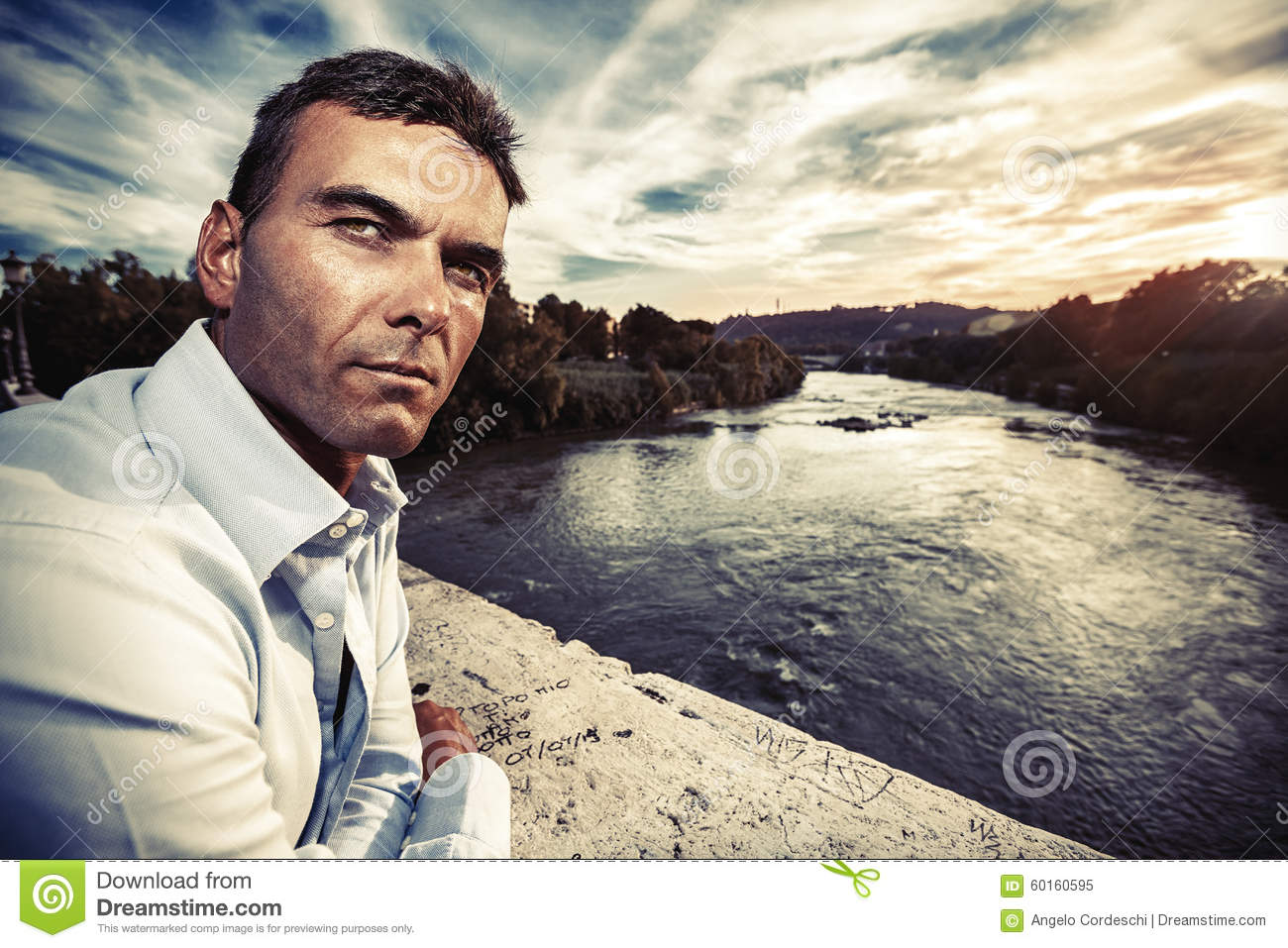 Lonely Man Looking Suspicious River At Sunset Stock Photo Image 60160595