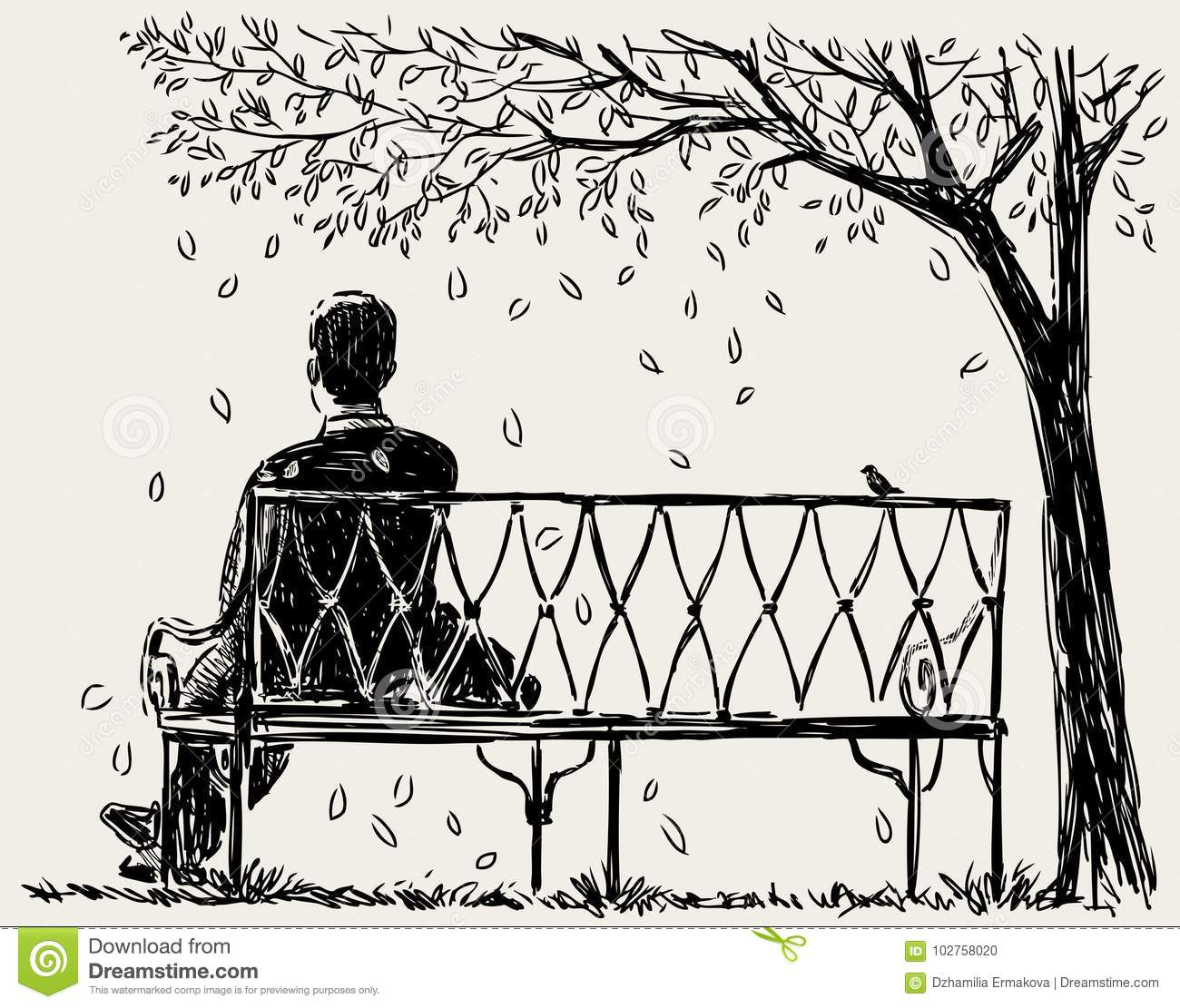 Lonely Man Sits On The Park Bench Stock Vector Illustration Of