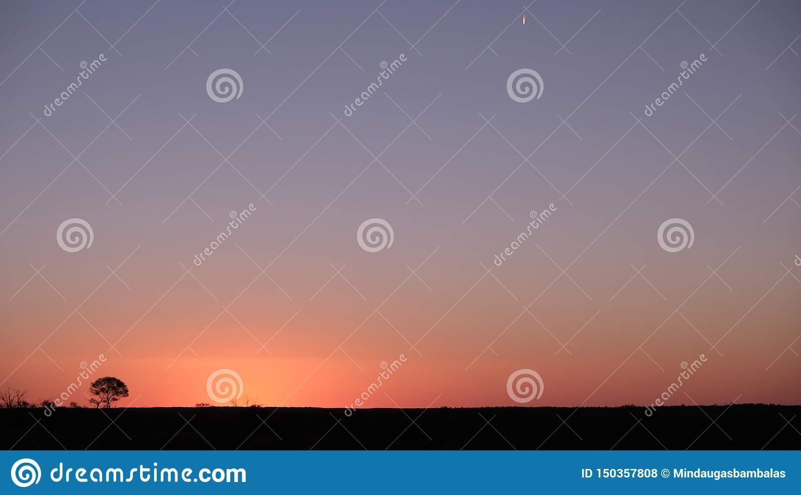 Lonely moving star at sunset