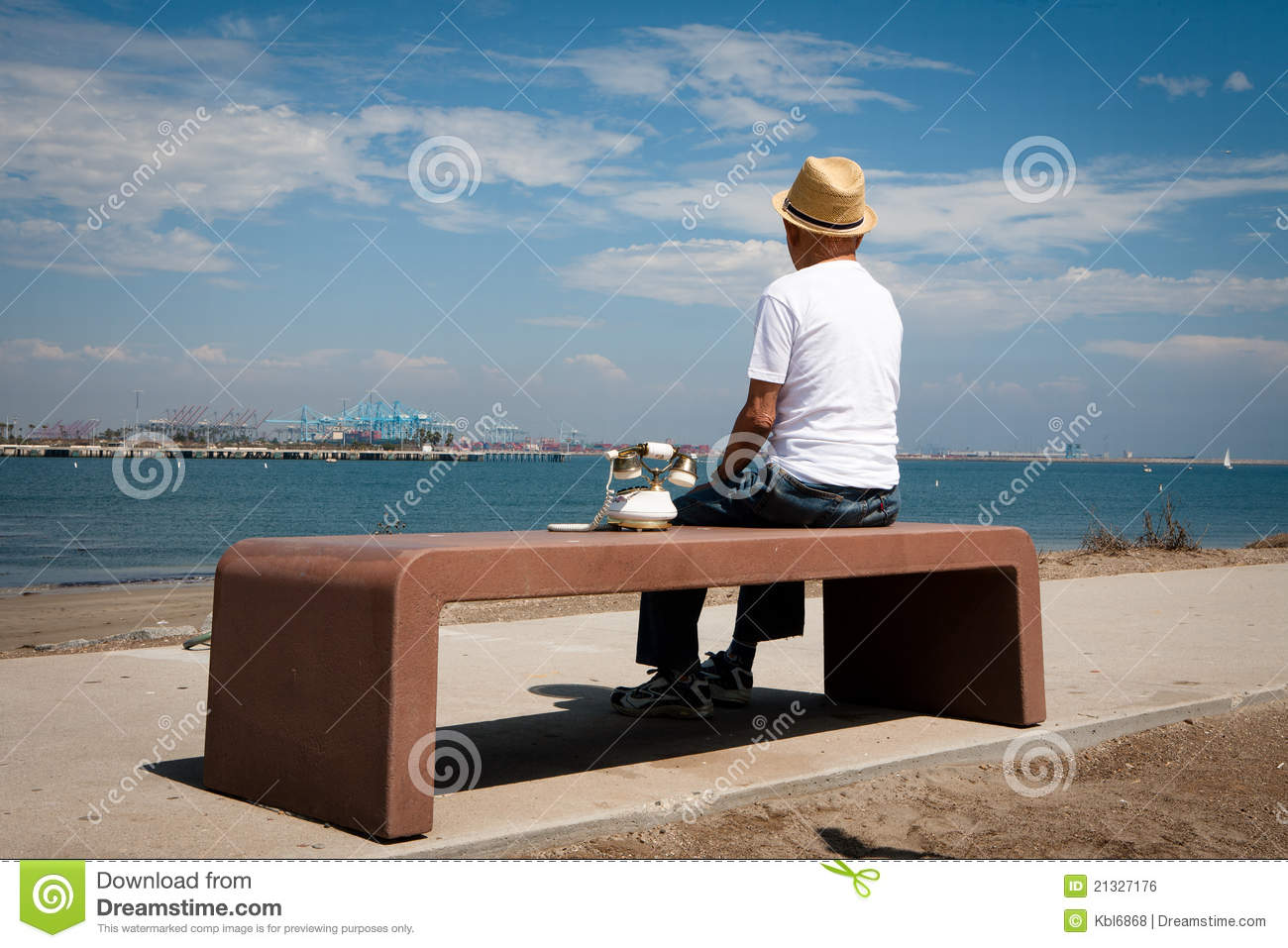 Lonely Old Man Stock Photo Image Of East Seat Telephone