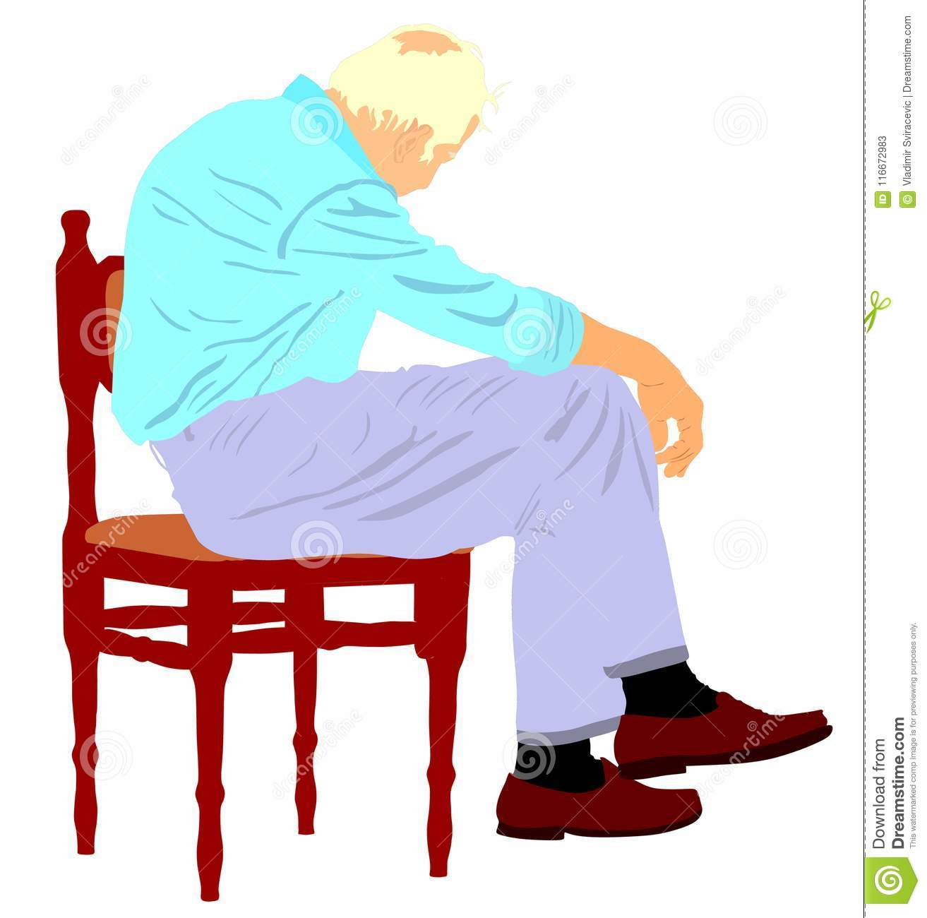 Lonely Old Man Sitting On Chair In Illustration. Worried Senior ...