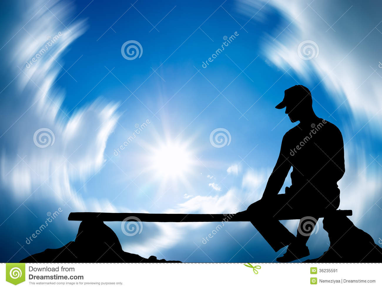 The Lonely Person Sitting On Breakage Stock Image Image