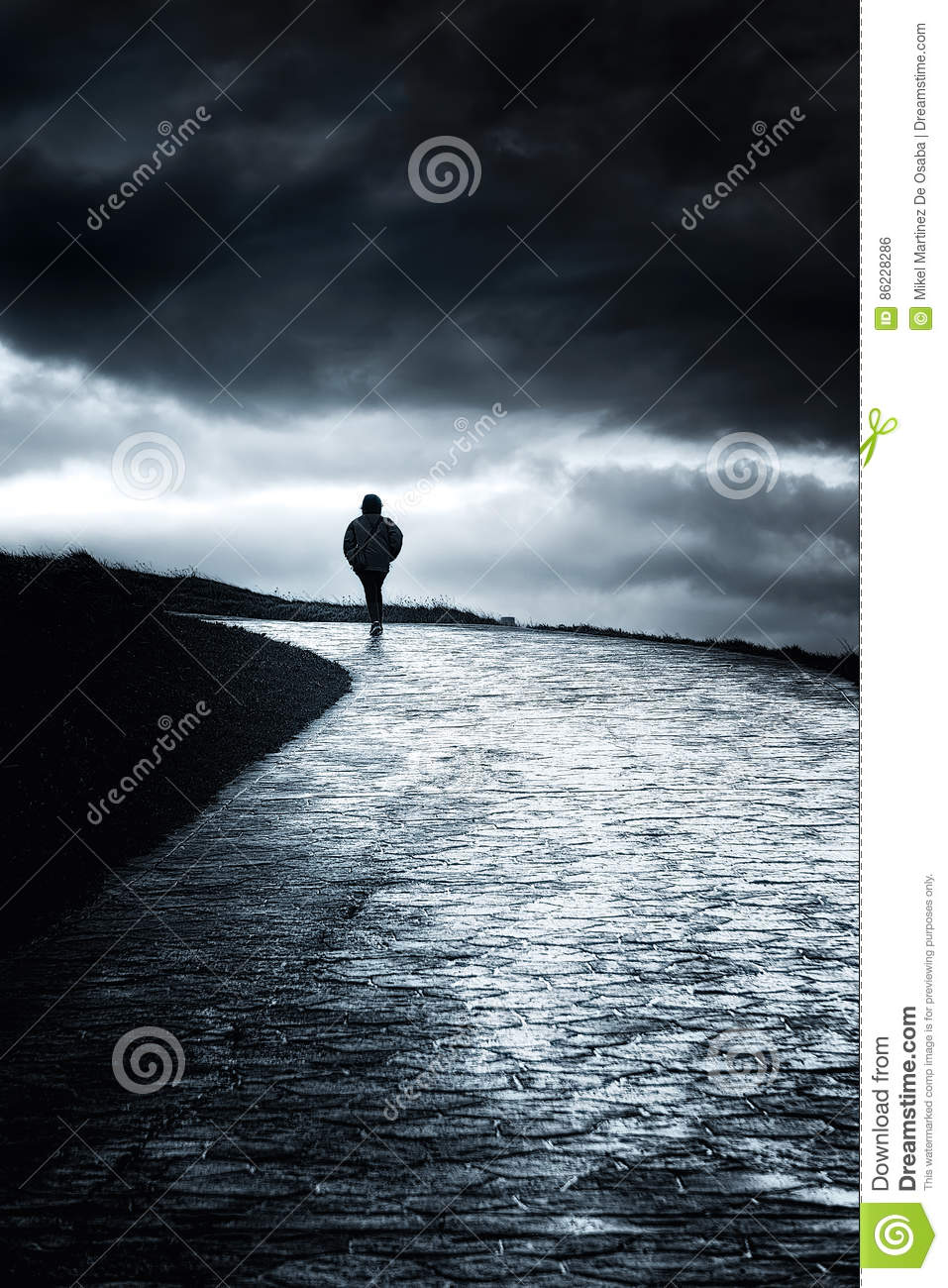 Lonely person walking