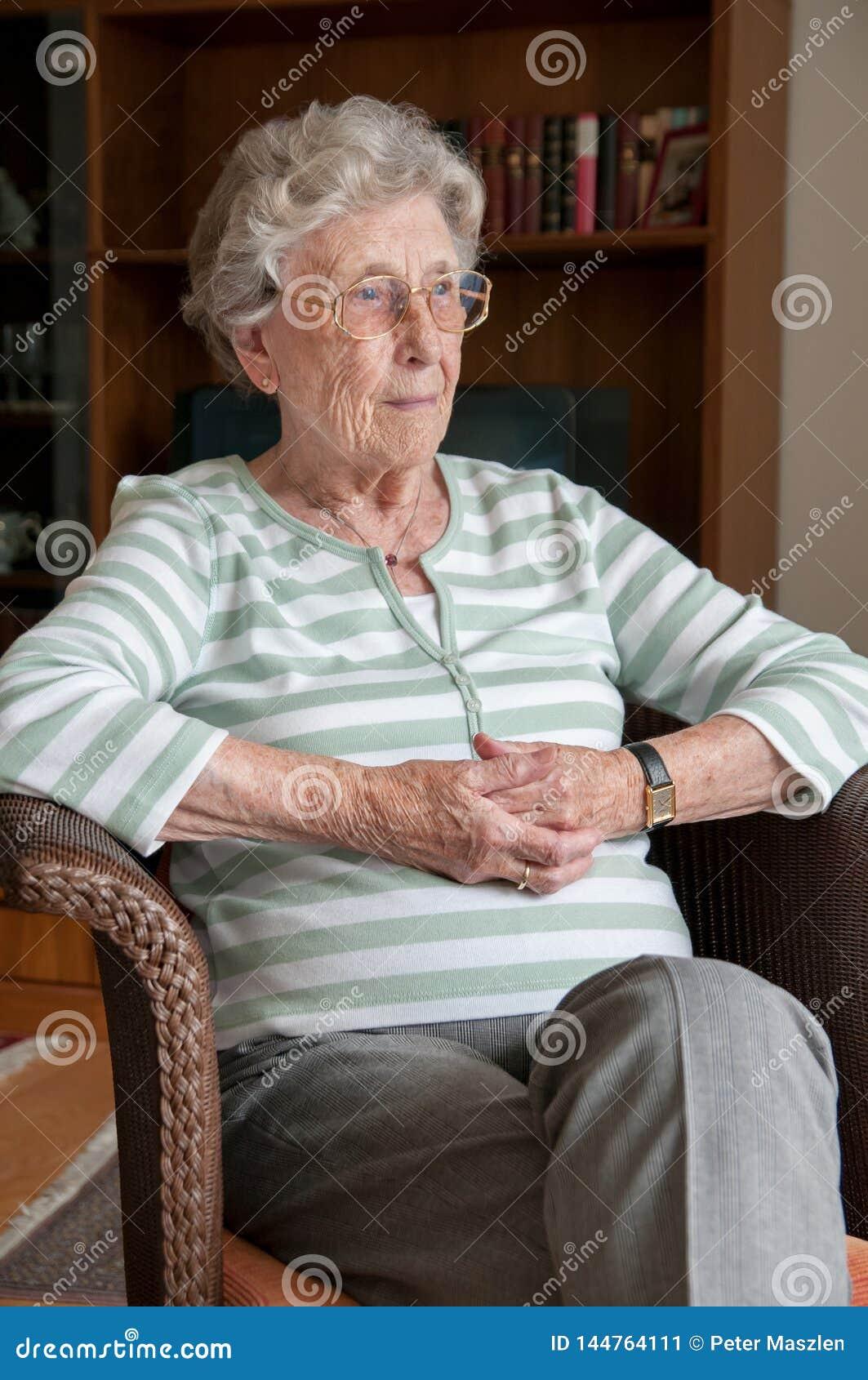 Portrait format of lonely senior woman