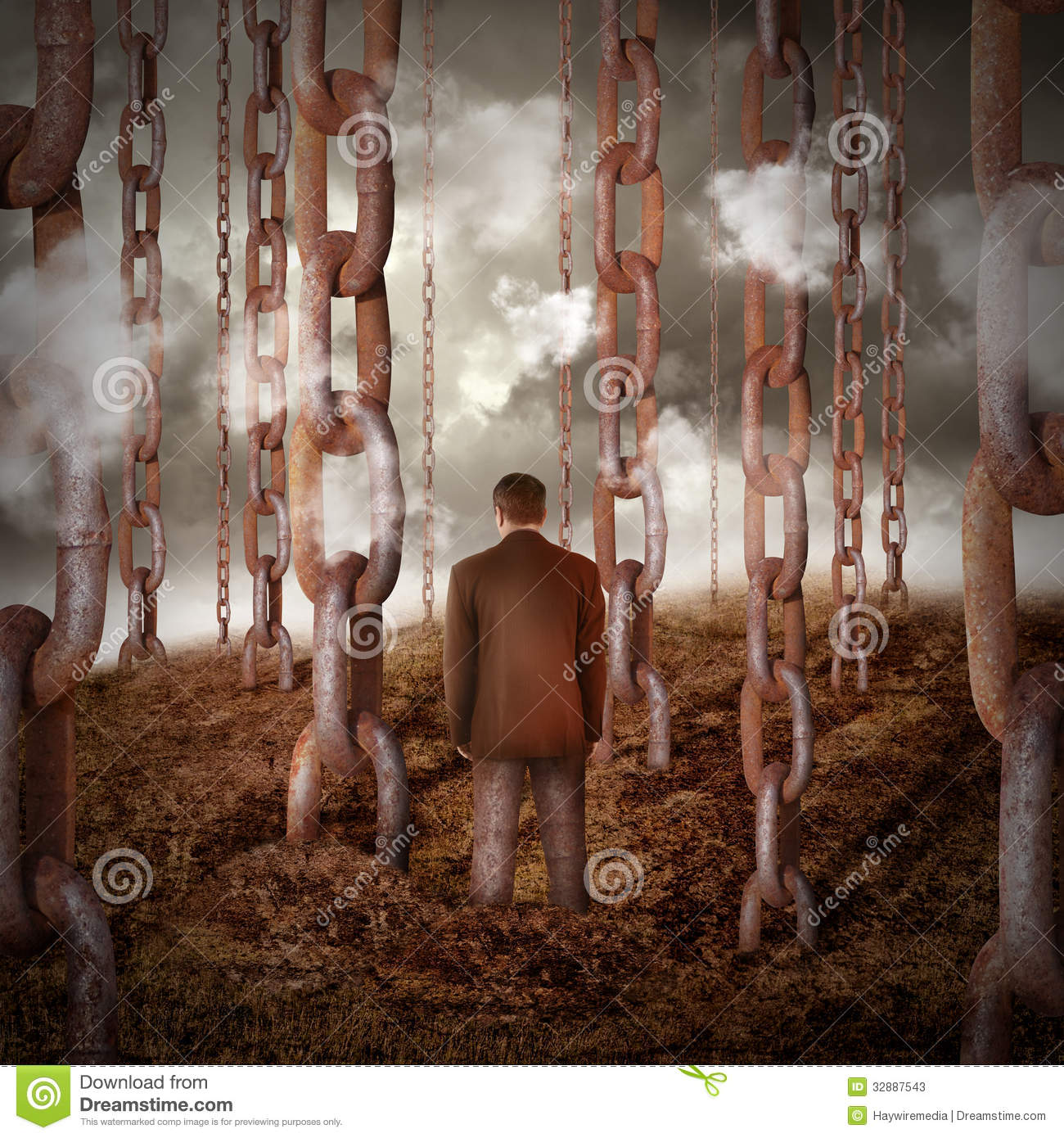 lonely sad main chained to dry dirt stock photos image